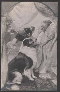 3107614 COLLIE Dog & Girl w/ DOLL Sign SCHLOMKA vintage SALON