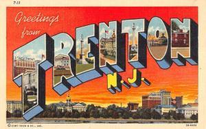 Trenton New Jersey Greetings Large Letter Linen Antique Postcard K20145