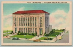 Galveston Texas~United States Post Office~Custom House~1936~Linen Postcard