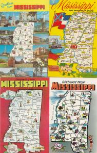 Mississippi Greetings From 4x Map Postcard s