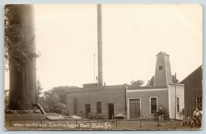 Buda Illinois~Water Works Workers~Electric Light Plant~Stand Pipe~1909 RPPC