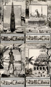 Complete Set of 7 Postcards (B&W): Seven Wonders of the World