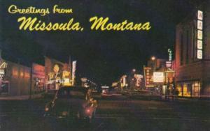 Montana Missoula Main Street At Night
