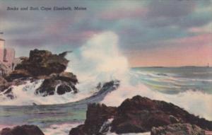 Maine Cape Elizabeth Rocks and Surf