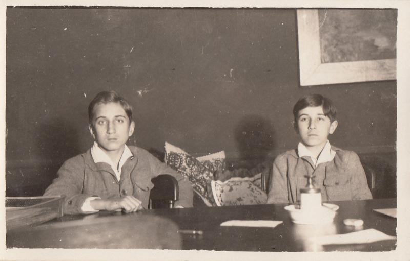 REAL PHOTO POSTCARD HUNGARY 1925 SOCIAL HISTORY EASTERN EUROPE - TWO BOYS