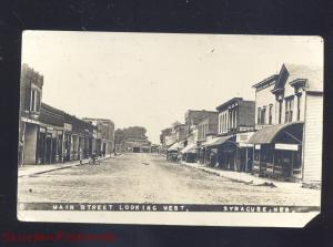 SYRACUSE NEBRASKA DOWNTOWN MAIN STREET SCENE VINTAGE REAL PHOTO POSTCARD