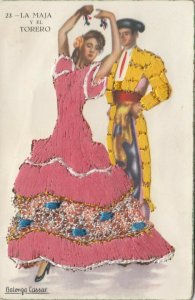 MADRID, Spain, 1930-40s; Female Dancer & Bull Fighter in embroidered clothing