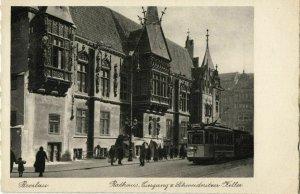 poland, WROCŁAW BRESLAU, Rathaus, Schweidnitzer Keller, Tram (1930s) Postcard