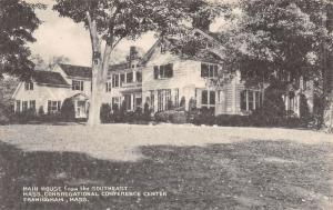 Framingham MA Congregational Center~Main House~B&W Litho~Collotype Postcard 1930