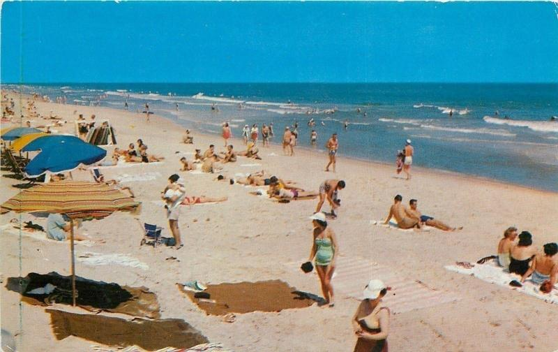 Port Isabel Corpus Christi Texas Padre Island Beach Scene 1950s Postcard