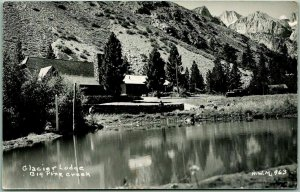 1930s BIG PINE, California RPPC Postcard GLACIER LODGE Creek View HWM Photo #963