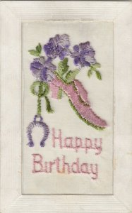 BIRTHDAY, 1900-10s; Embroidered