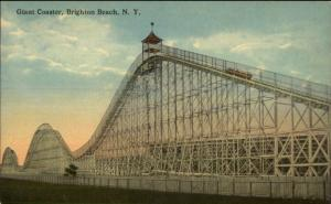 Brighton Beach NY Giant Roller Coaster c1910 Postcard