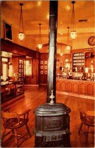 Postcard Interior Old Wood Stove Upjohn Victorian Drug Store Disney Unpost 1511
