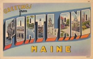 Large Letter Greetings PORTLAND , Maine, 30-40s