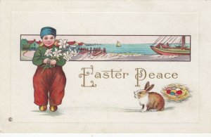 EASTER Peace, Dutch boy holding flowers, rabbit, & colored eggs, 1900-10s