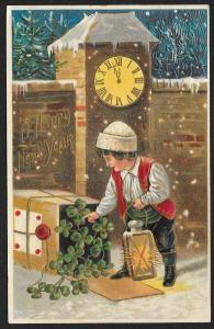 A Happy New Year Clocks Clover & Boy Used c1909