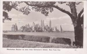 Manhattan Skyline As Seen From Governor's Island New York City 1947 Real Photo