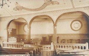 G68/ Albion Indiana RPPC Postcard 1910 Lutheran Church Interior