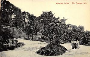 Hot Springs Arkansas~Mountain Drive~Victorian Ladies Walking in Street~c1910 Pc