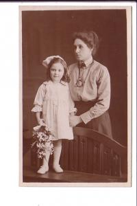 Real Photo, Woman and Girl with Flowers,
