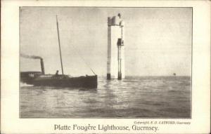Platte Fougere Lighthouse Guernsey c1920 Postcard