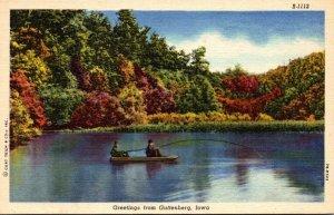 Iowa Greetings From Guttenberg Fishing Scene Curteich