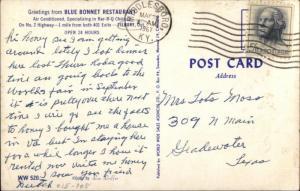 Tilbury Ontario Blue Bonnet Restaurant Old Cars Coca Cola 1950s Postcard