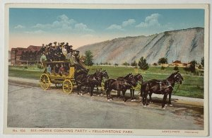 Old DB Postcard No. 104 Six-Horse Coaching Party, Yellowstone Park, WY Unused