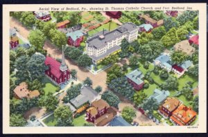 Pennsylvania BEDFORD Aerial St. Thomas Catholic Church Fort Bedford Inn - LINEN