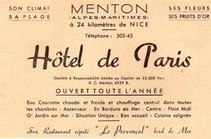 Hotel De Paris Alpes Maritimes Nice Postcard Advertising Book