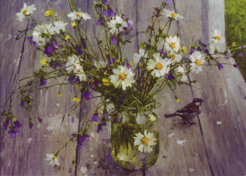 BOUQUET n BIRD Flowers chamomile Daisy Sparrow Bird Modern postcard