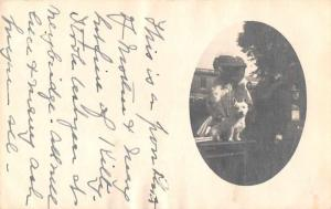 Clifton Springs New York Women with Dog Real Photo Antique Postcard J76077