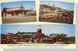 Cohasset Harbor,Mass/MA Postcard,Hugo's Restaurants,Cape Cod