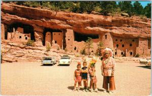 COLORADO SPRINGS, CO CLIFF DWELLINGS Native Americans c1950s Cars   Postcard