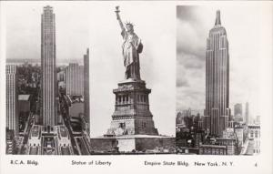 New York City Statue Of Liberty R C A Building & Empire State Building Real P...