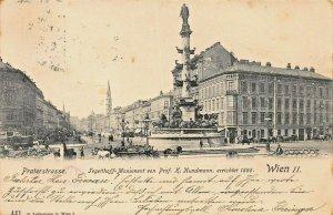 WIEN VIENNA AUSTRIA~PRATERESTRASSE-JEGETTHOFF MONUMENT~LEDERMANN 1902 POSTCARD