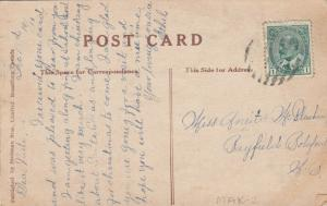 CHRISTMAS: PU-1910; Half moon with building and moose inside, Holly, Embossed