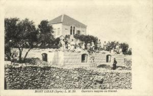 lebanon, MONT LIBAN, Workmen Masons at Work (1920s) Postcard