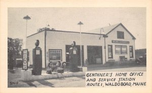 Gas Station Post Card Genthner's Home Office & Service Station Waldoboro...