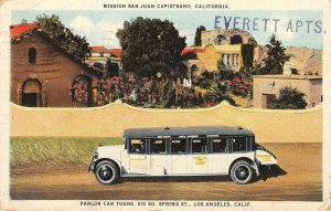 Mission San Juan Capistrano Parlor Car Tours Los Angeles 1924 Vintage Postcard