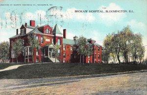 Brokaw Hospital, Bloomington, Illinois, Early Postcard, Used in 1908