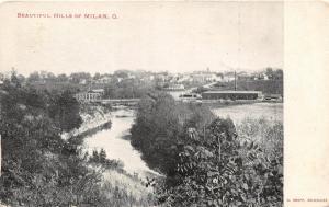 C79/ Milan Ohio Postcard c1910 Beautiful Hills Bridge River Buildings