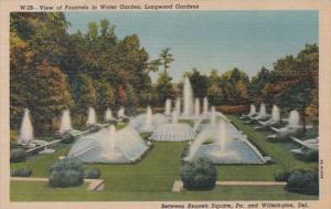 Delaware Wilmington View of Fountain In Water Garden Longwood Gardens Curteich
