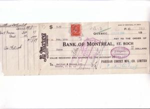 Custom Cheque, La Marva Quality Corsets  Montreal Quebec Canada Stamp 1934