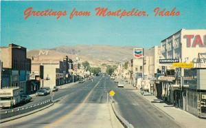 Autos Chevron Bear Lake County 1960s Montpelier Idaho Postcard Seaich 140