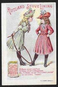 VICTORIAN TRADE CARD Rutland Stove Lining Two Pretty Girls Boasting