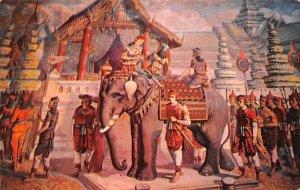 Mural Painting around the wall of Bot, Wat Rajathivas Bangkok Thailand Unused