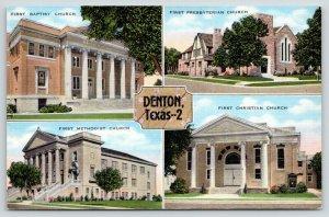 Denton Texas~1st Baptist-1st Presbyterian-1st Methodist-1st Christian Church~40s
