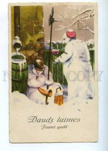 202970 NEW YEAR Dressed SNOWMAN w/ Pipe Vintage postcard